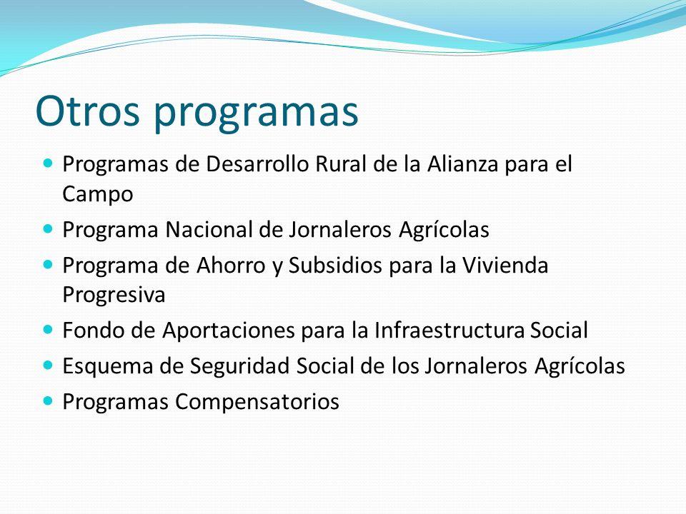 Otros programas Programas de Desarrollo Rural de la Alianza para el Campo. Programa Nacional de Jornaleros Agrícolas.