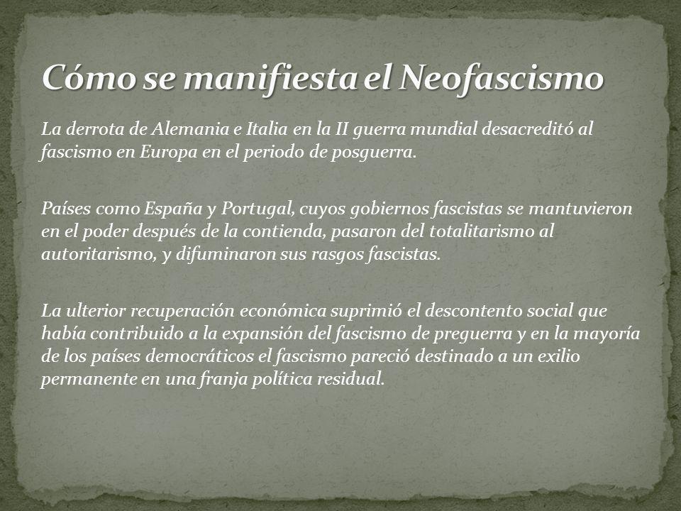 Cómo se manifiesta el Neofascismo