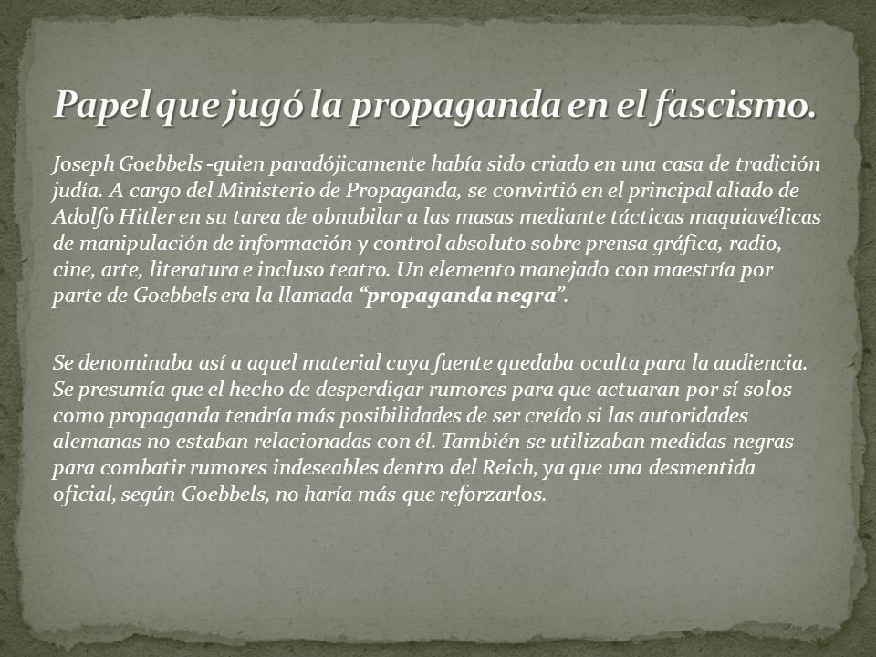 Papel que jugó la propaganda en el fascismo.