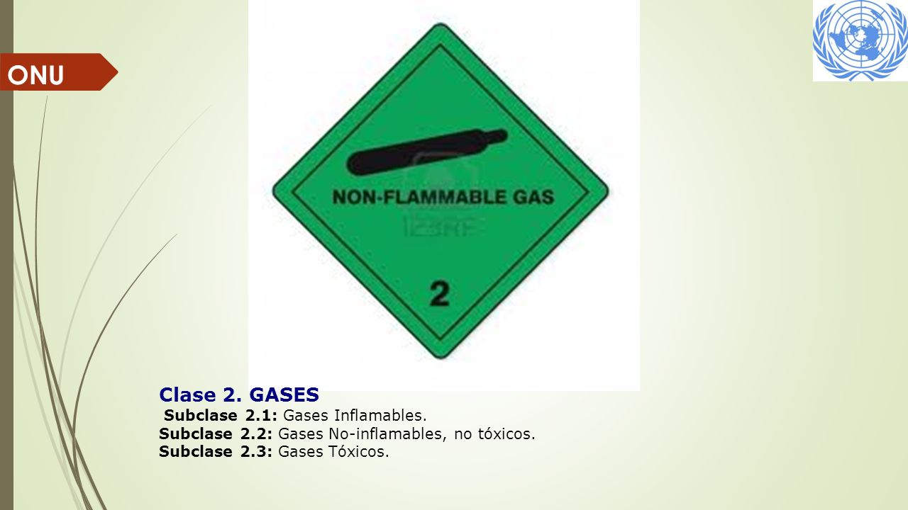 ONU Clase 2. GASES Subclase 2.1: Gases Inflamables.