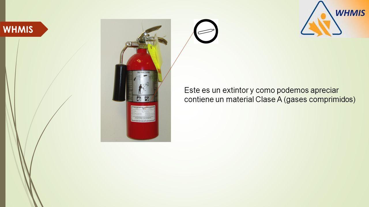 WHMIS Este es un extintor y como podemos apreciar contiene un material Clase A (gases comprimidos)