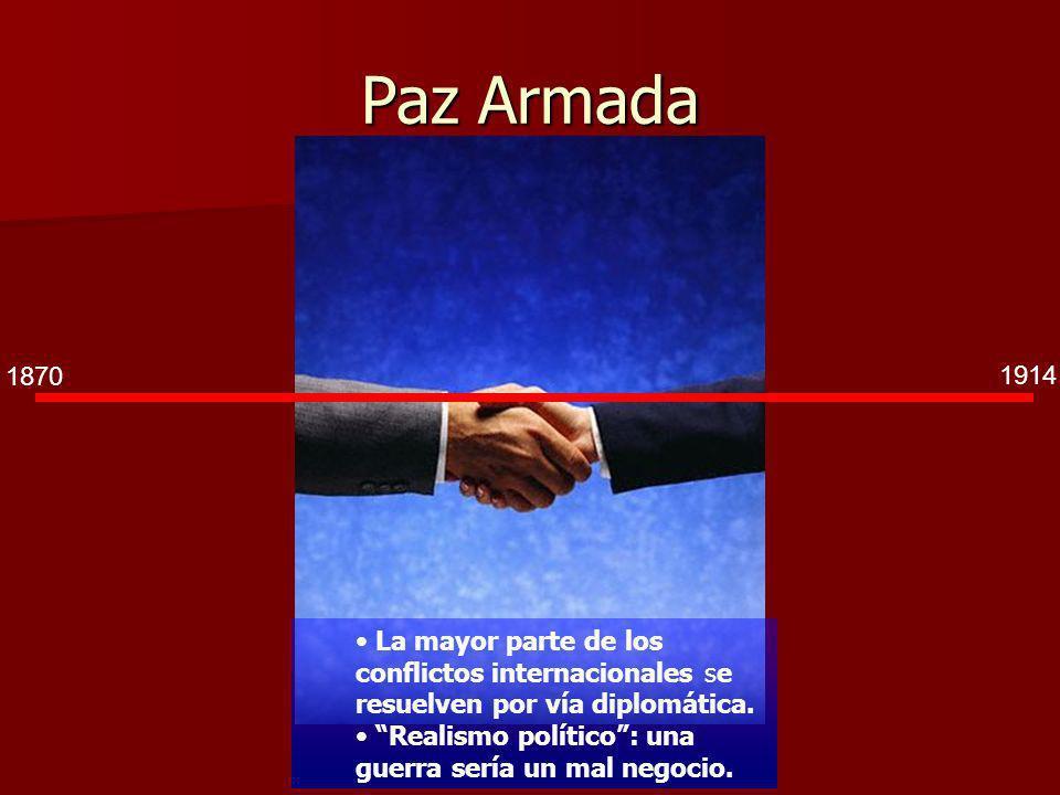 Paz Armada 1870. 1914. La mayor parte de los conflictos internacionales se resuelven por vía diplomática.