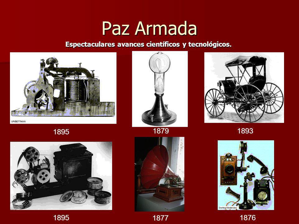 Paz Armada Espectaculares avances científicos y tecnológicos. 1895 1879 1893 1895 1877 1876