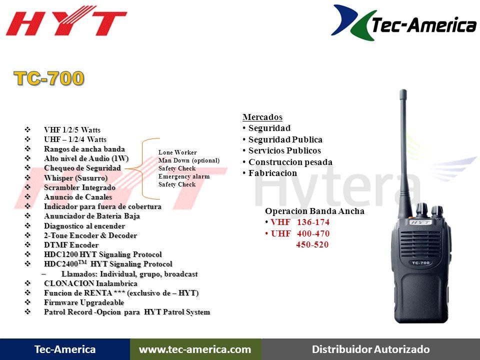 TC-700 TC-700 Portatil Mercados Seguridad Seguridad Publica