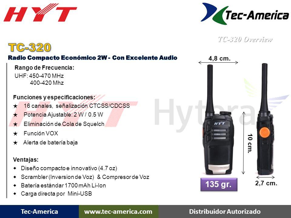 TC-320 135 gr. TC-320 Overview 4,8 cm. 10 cm. 2,7 cm.