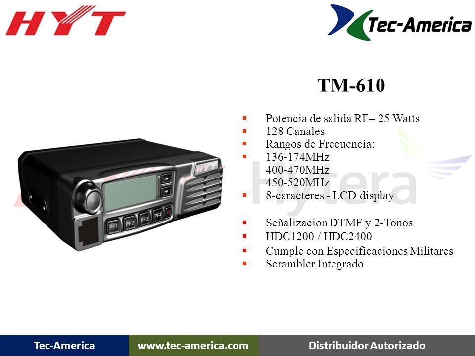 TM-610 TM-610 Movil Potencia de salida RF– 25 Watts 128 Canales