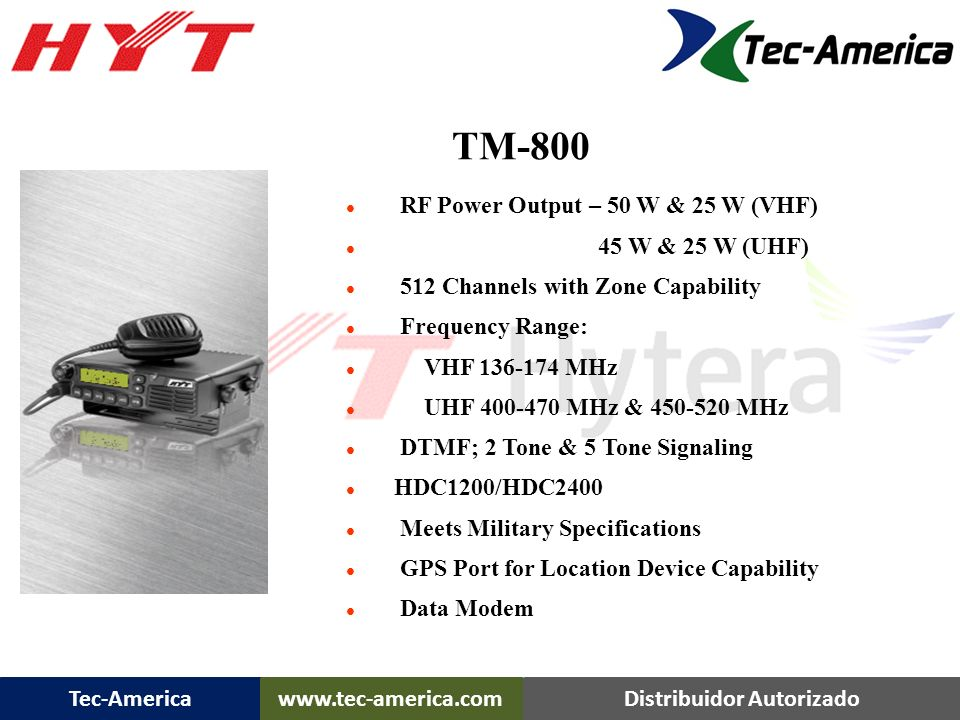 TM-800 TM-800 Mobile …. RF Power Output – 50 W & 25 W (VHF)