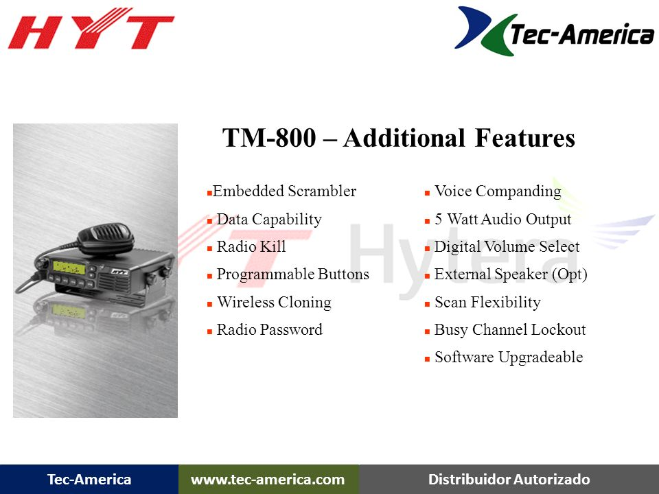 TM-800 – Additional Features
