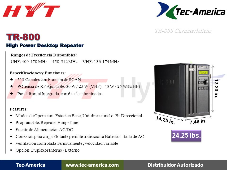 TR-800 24.25 lbs. TR-800 Caracteristicas 12.20 in. 14.25 in. 7.48 in.