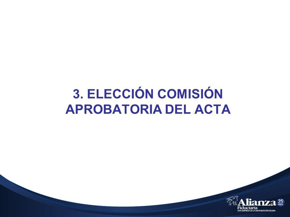 3. ELECCIÓN COMISIÓN APROBATORIA DEL ACTA