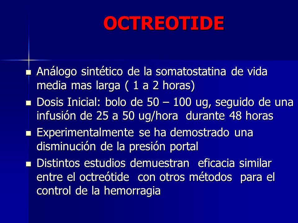 OCTREOTIDE Análogo sintético de la somatostatina de vida media mas larga ( 1 a 2 horas)