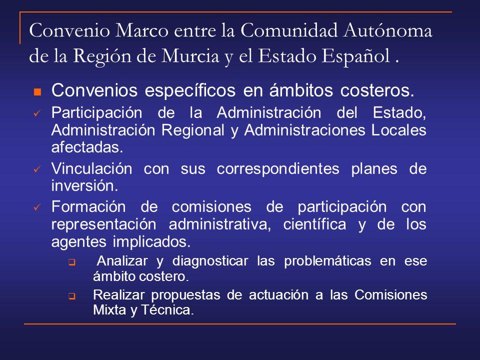 Convenio Marco entre la Comunidad Autónoma de la Región de Murcia y el Estado Español .