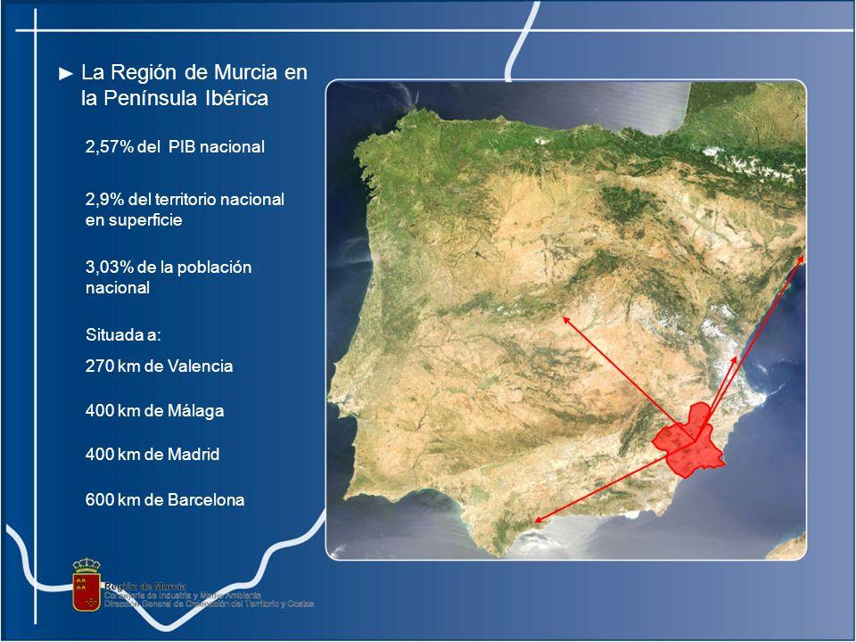 La Región de Murcia en la Península Ibérica