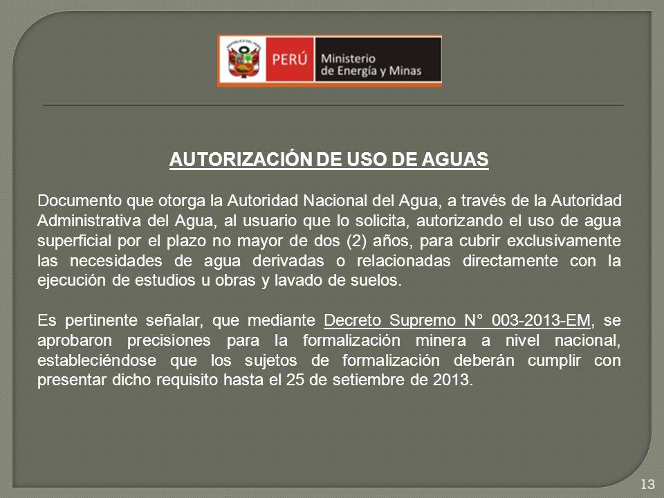 AUTORIZACIÓN DE USO DE AGUAS