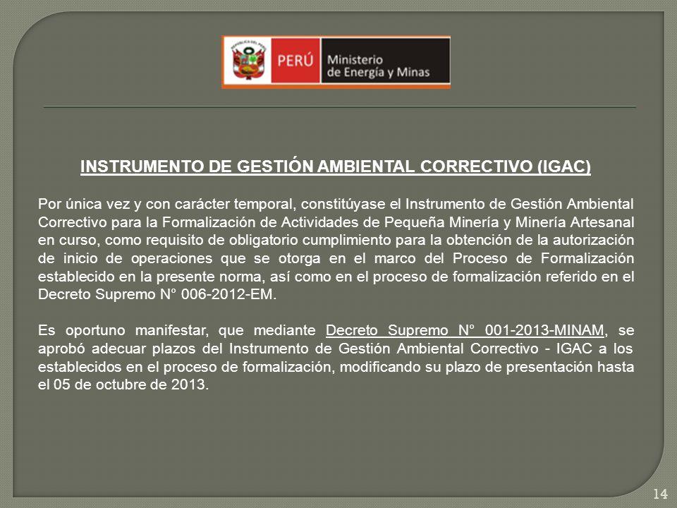INSTRUMENTO DE GESTIÓN AMBIENTAL CORRECTIVO (IGAC)
