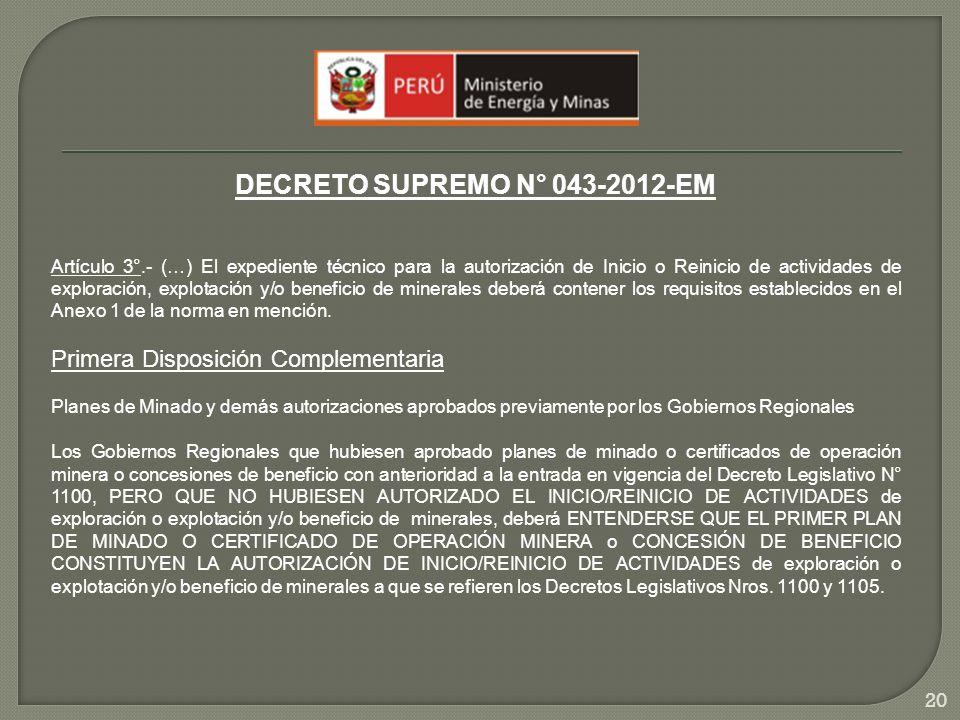 DECRETO SUPREMO N° 043-2012-EM