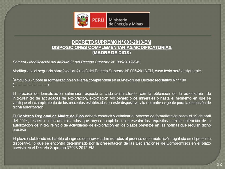 DECRETO SUPREMO N° 003-2013-EM