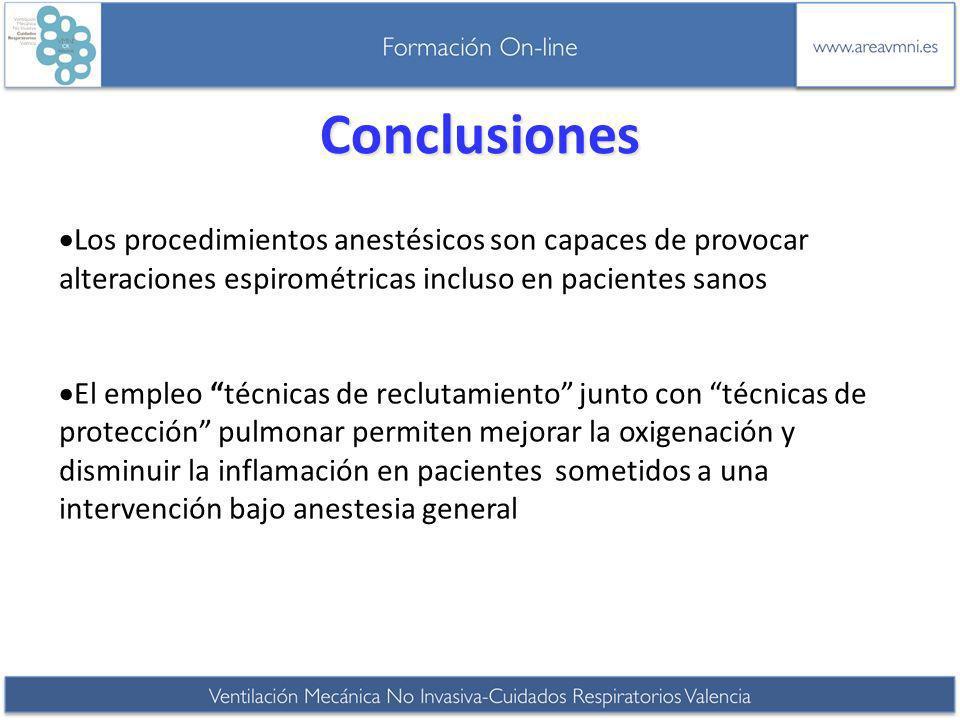 Conclusiones Los procedimientos anestésicos son capaces de provocar alteraciones espirométricas incluso en pacientes sanos.