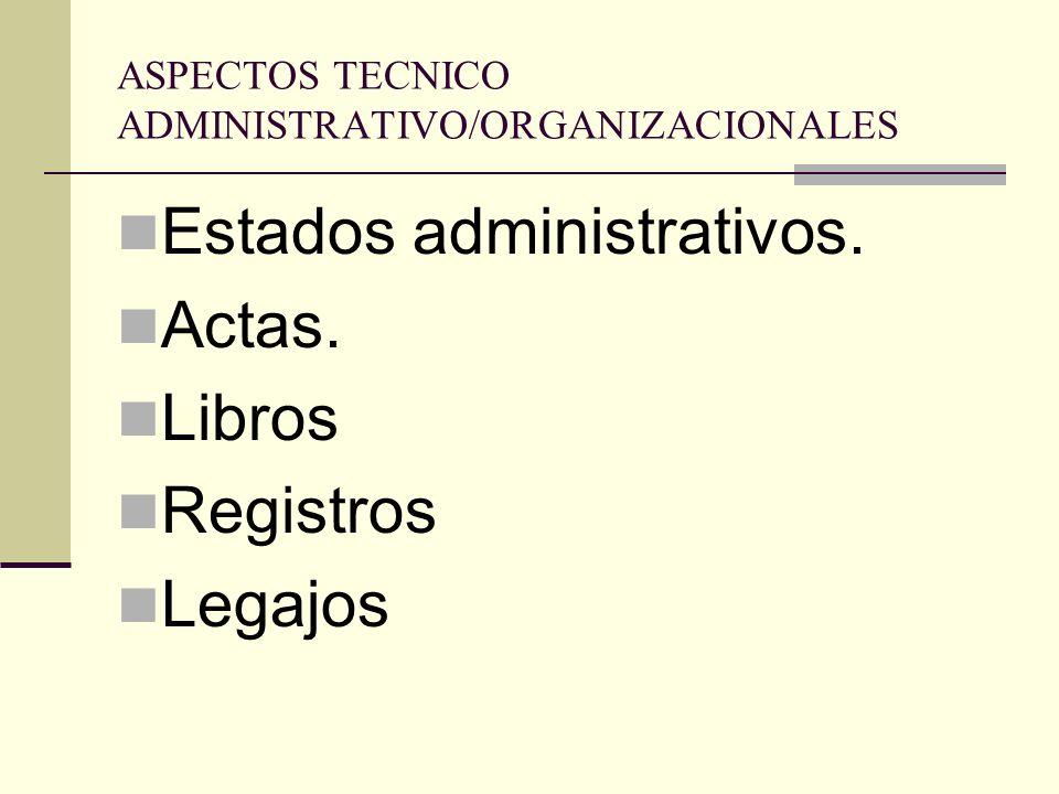 ASPECTOS TECNICO ADMINISTRATIVO/ORGANIZACIONALES