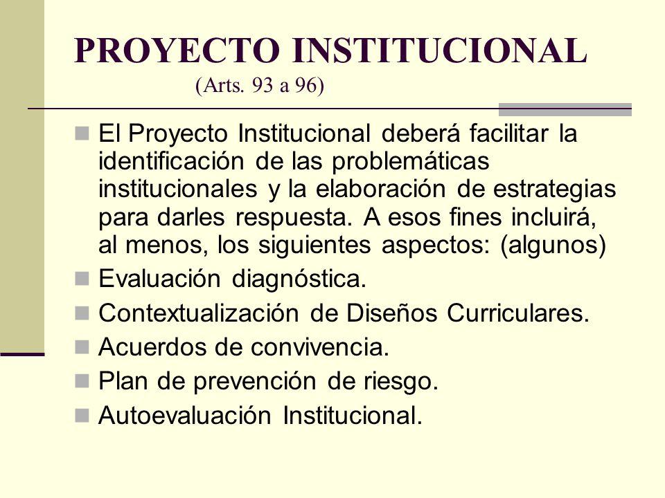 PROYECTO INSTITUCIONAL (Arts. 93 a 96)