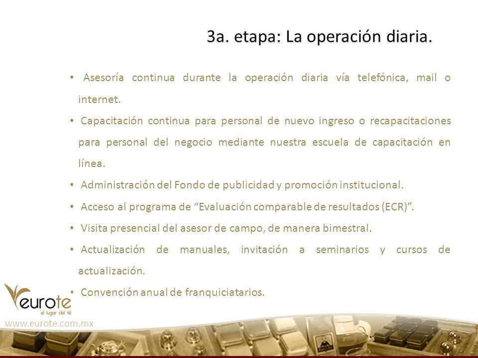 3a. etapa: La operación diaria.
