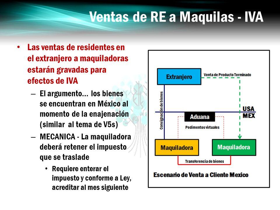 Ventas de RE a Maquilas - IVA