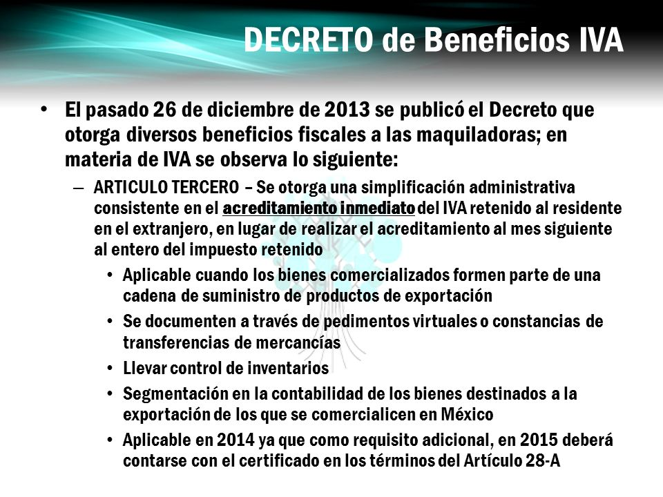 DECRETO de Beneficios IVA