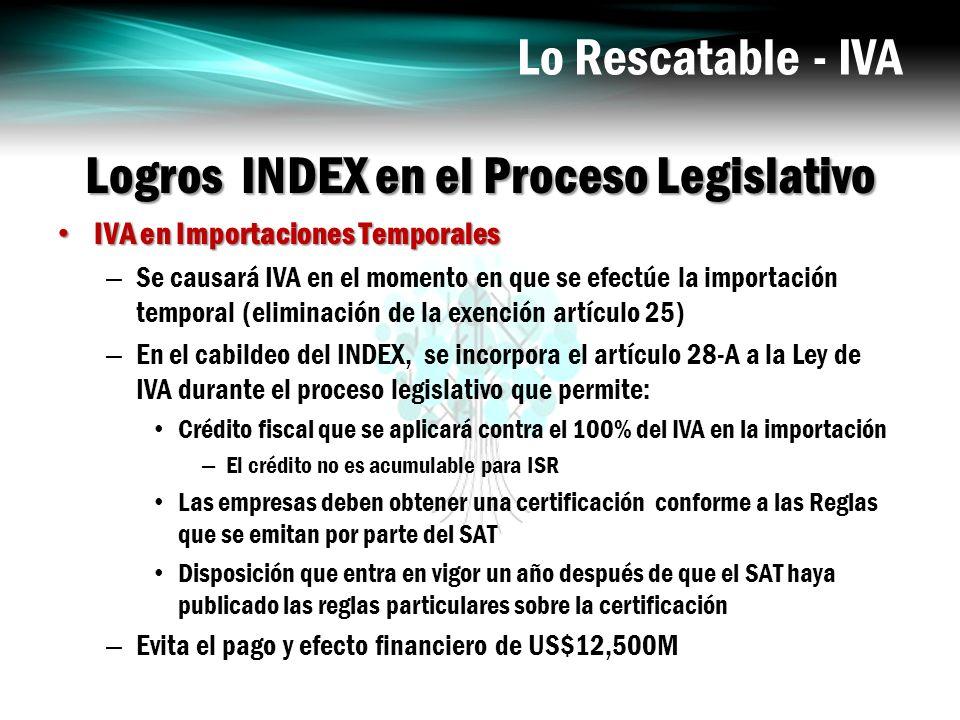 Logros INDEX en el Proceso Legislativo