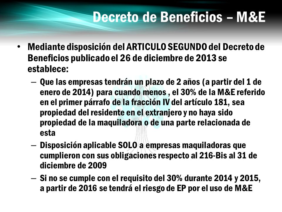 Decreto de Beneficios – M&E
