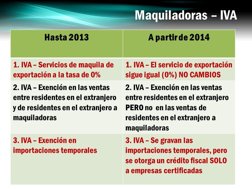 Maquiladoras – IVA Hasta 2013 A partir de 2014