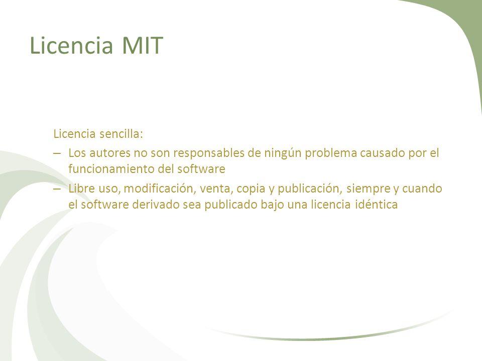 Licencia MIT Licencia sencilla: