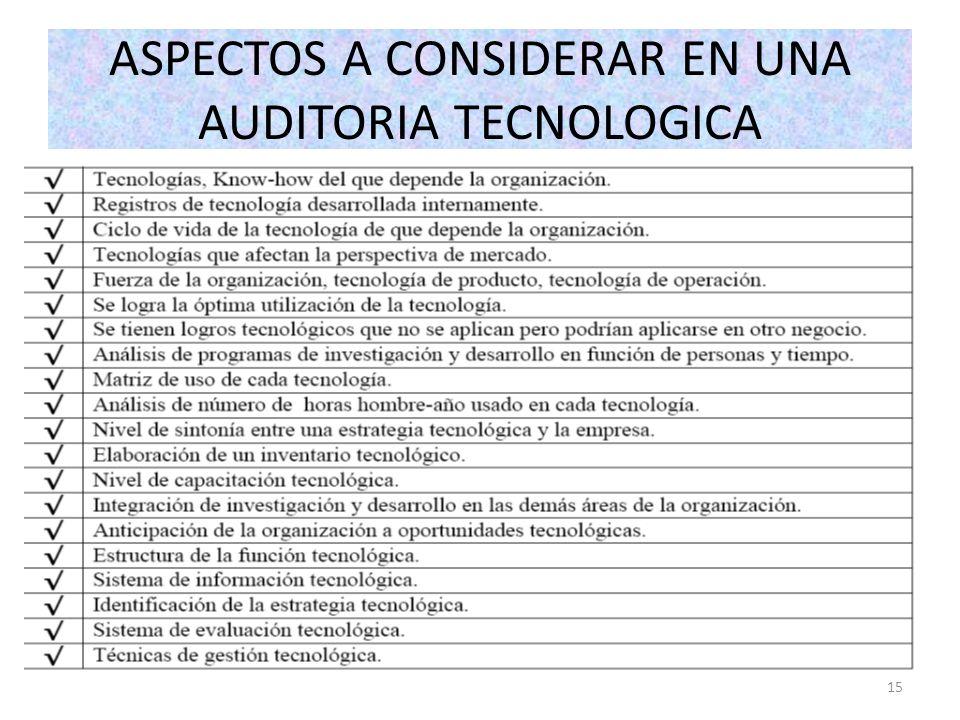 ASPECTOS A CONSIDERAR EN UNA AUDITORIA TECNOLOGICA