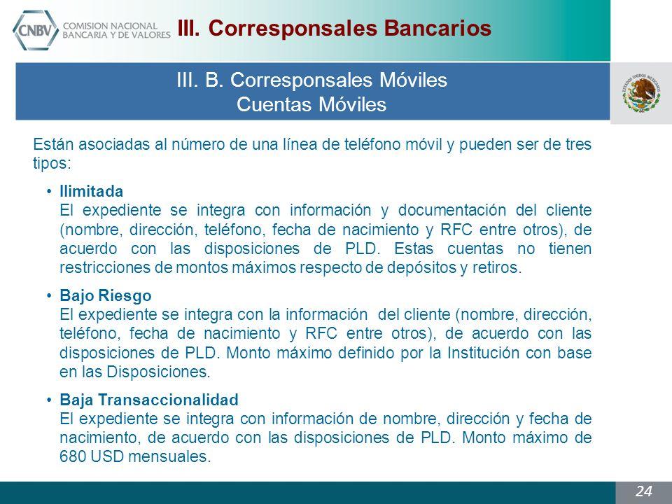 III. Corresponsales Bancarios