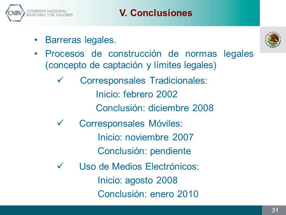 V. Conclusiones Barreras legales. Procesos de construcción de normas legales (concepto de captación y límites legales)