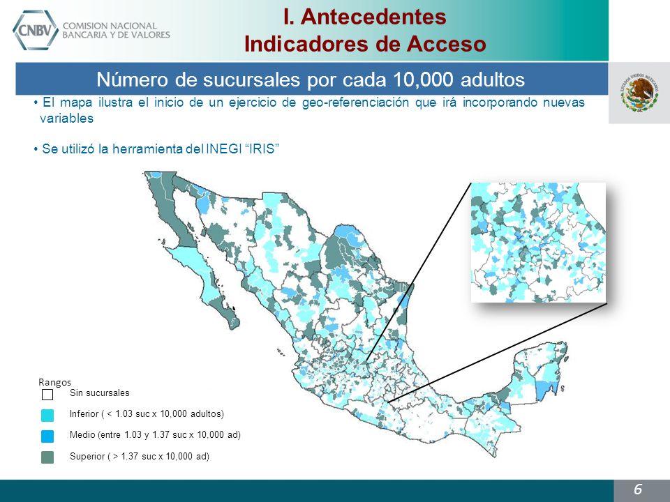 Número de sucursales por cada 10,000 adultos