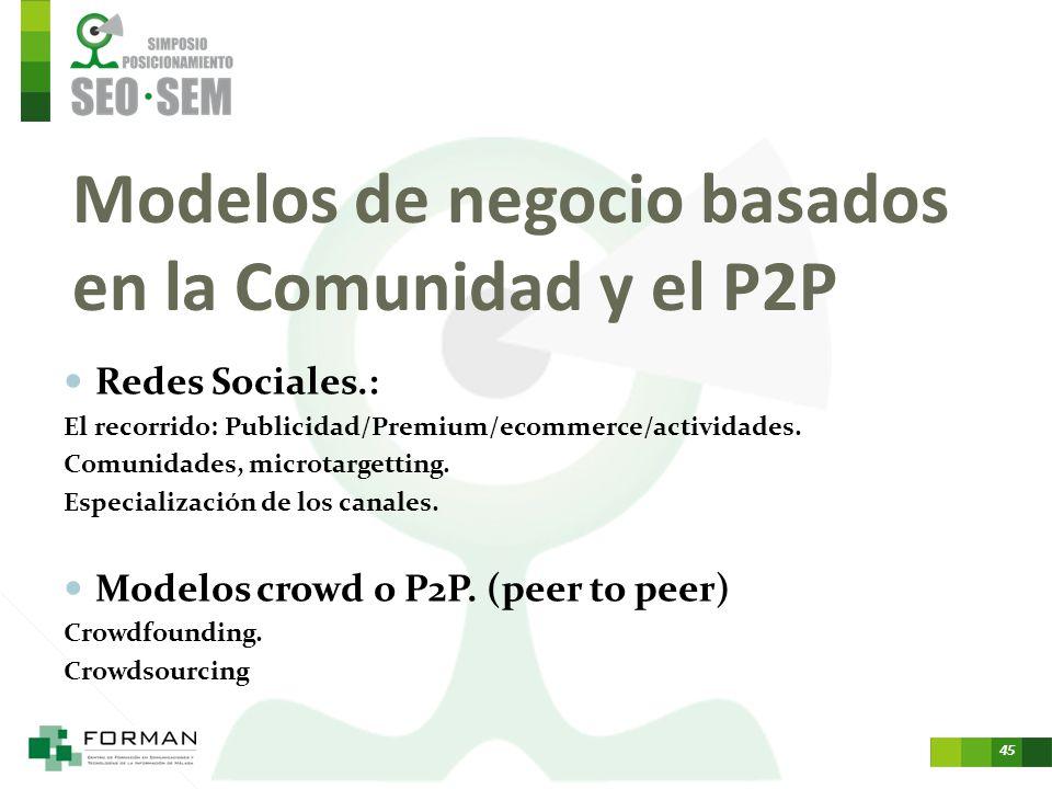 Modelos de negocio basados en la Comunidad y el P2P