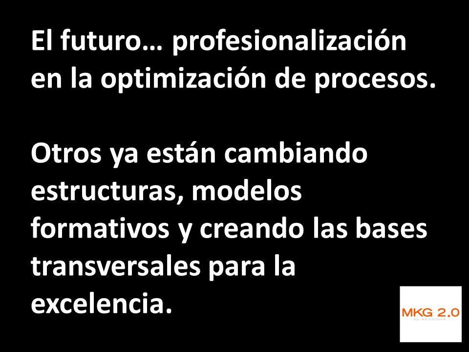 El futuro… profesionalización en la optimización de procesos