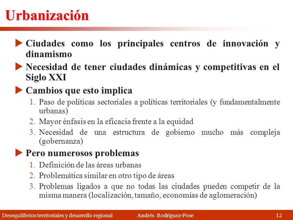Urbanización Ciudades como los principales centros de innovación y dinamismo. Necesidad de tener ciudades dinámicas y competitivas en el Siglo XXI.