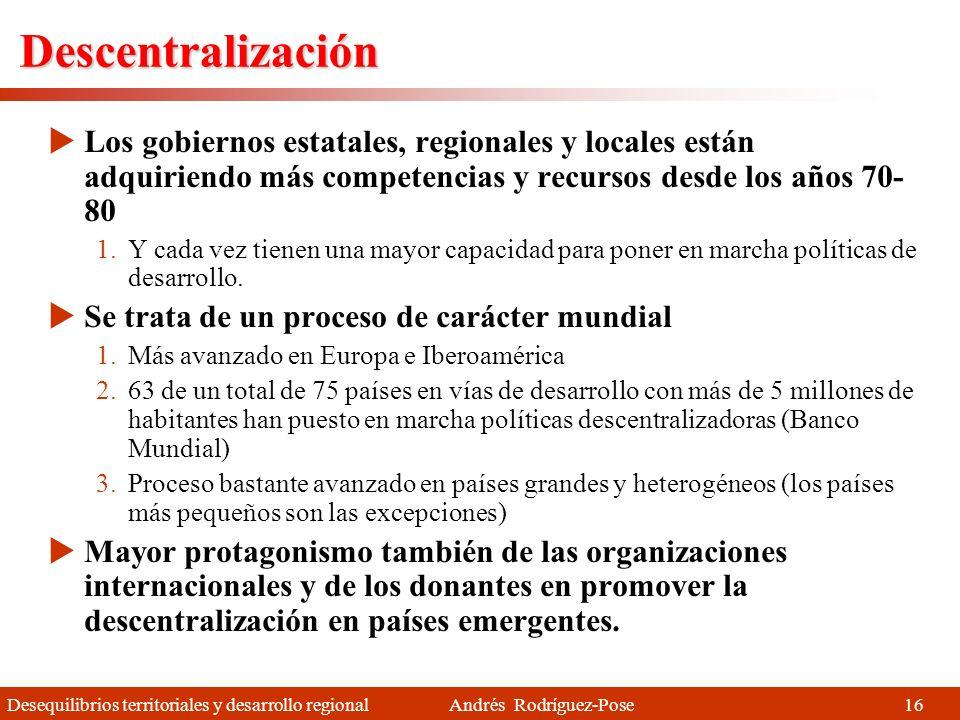 Descentralización Los gobiernos estatales, regionales y locales están adquiriendo más competencias y recursos desde los años 70-80.