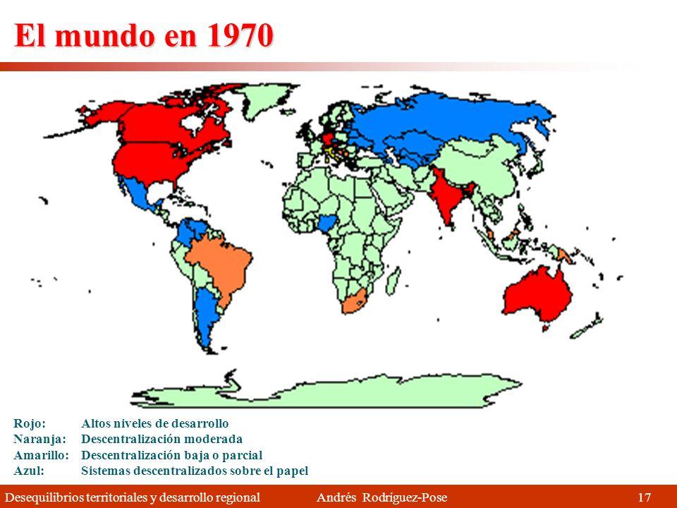 El mundo en 1970 Rojo: Altos niveles de desarrollo