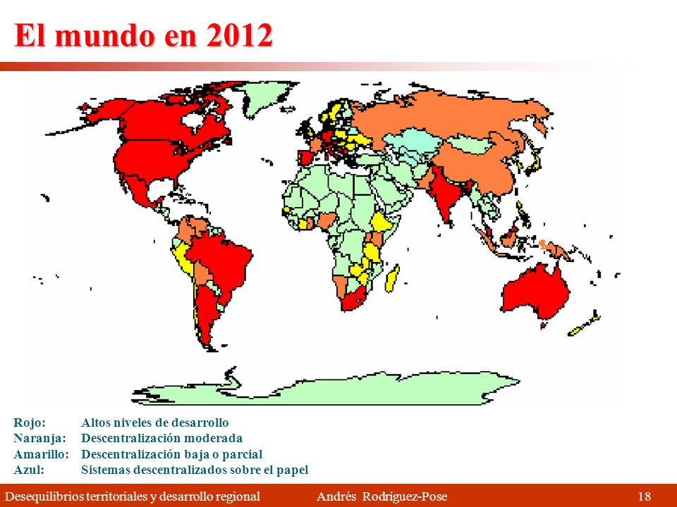 El mundo en 2012 Rojo: Altos niveles de desarrollo