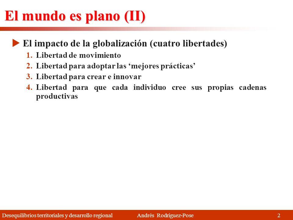 El mundo es plano (II) El impacto de la globalización (cuatro libertades) Libertad de movimiento. Libertad para adoptar las 'mejores prácticas'