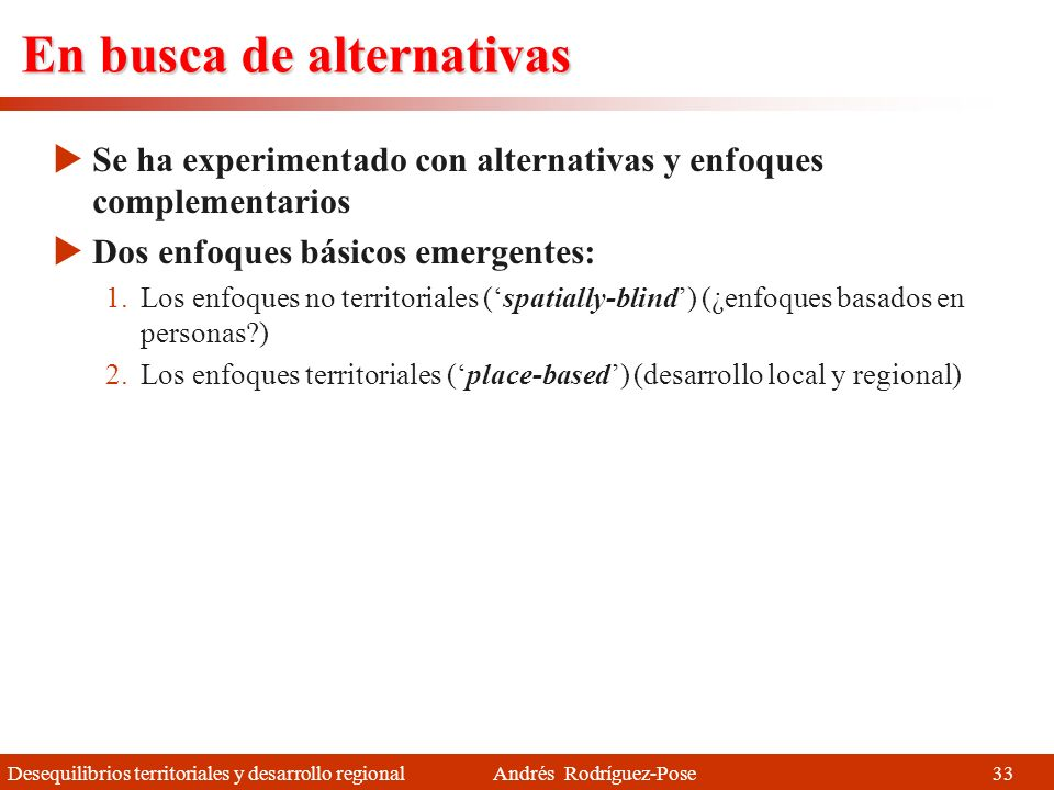 En busca de alternativas