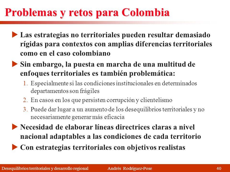 Problemas y retos para Colombia