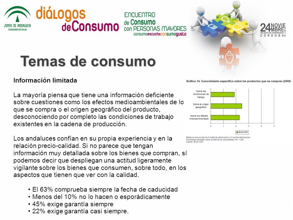 Temas de consumo Información limitada