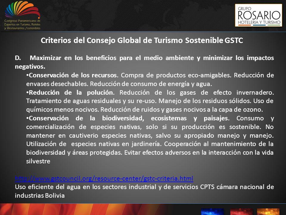 Criterios del Consejo Global de Turismo Sostenible GSTC