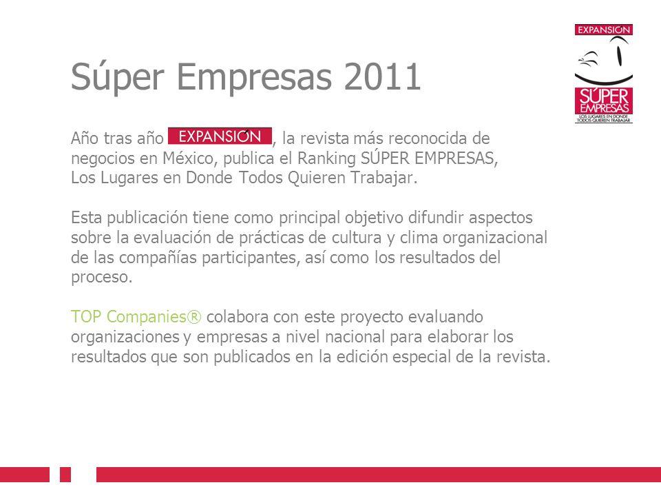 Súper Empresas 2011 Año tras año , la revista más reconocida de negocios en México, publica el Ranking SÚPER EMPRESAS,