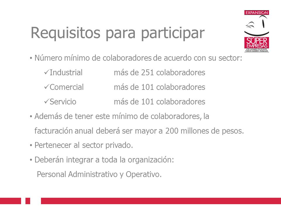 Requisitos para participar