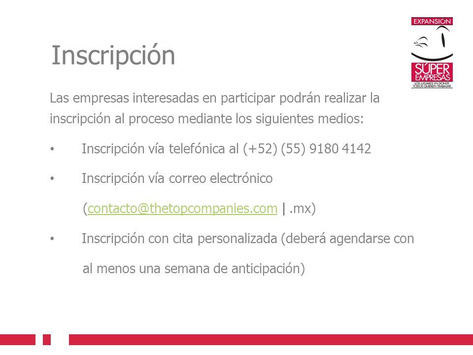 Inscripción Las empresas interesadas en participar podrán realizar la inscripción al proceso mediante los siguientes medios: