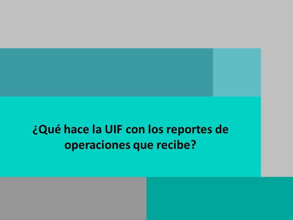 ¿Qué hace la UIF con los reportes de operaciones que recibe